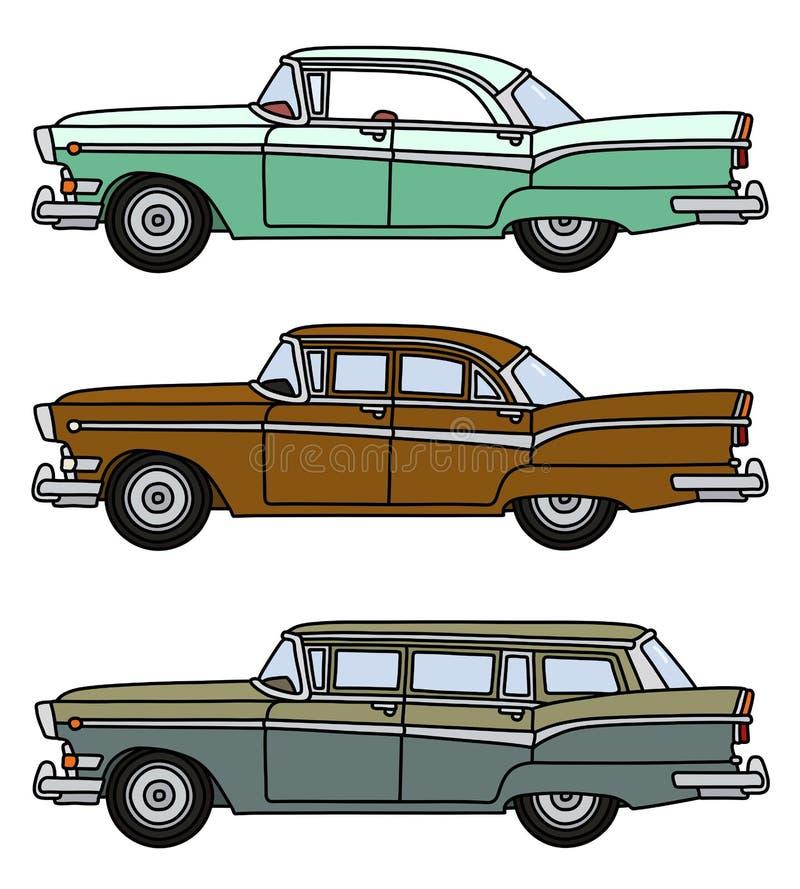 3 старых американских автомобиля бесплатная иллюстрация