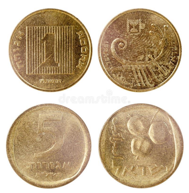 2 старых монетки Израиля стоковые фотографии rf