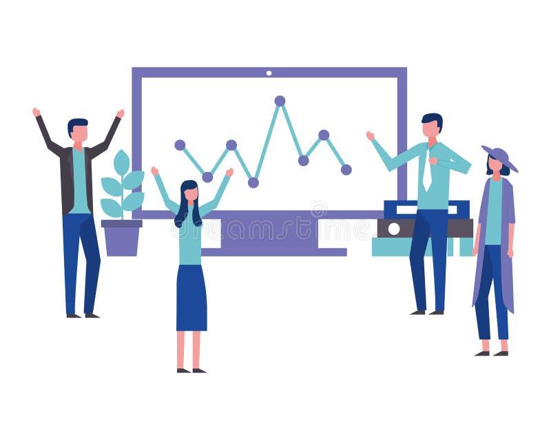 Статистика компьютера офиса людей сыгранности дела сообщает бесплатная иллюстрация