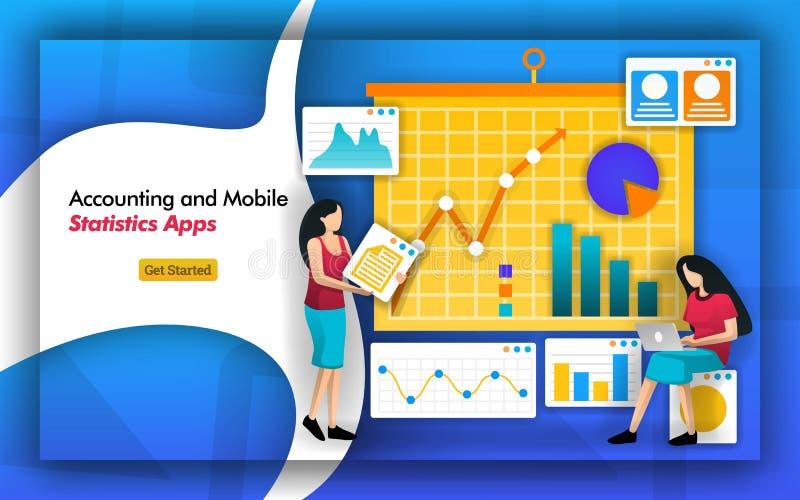 Статистика потребности бухгалтера для счетоводства бухгалтерско-учетные фирмы имеют мобильные приложения статистики для того чтоб иллюстрация вектора