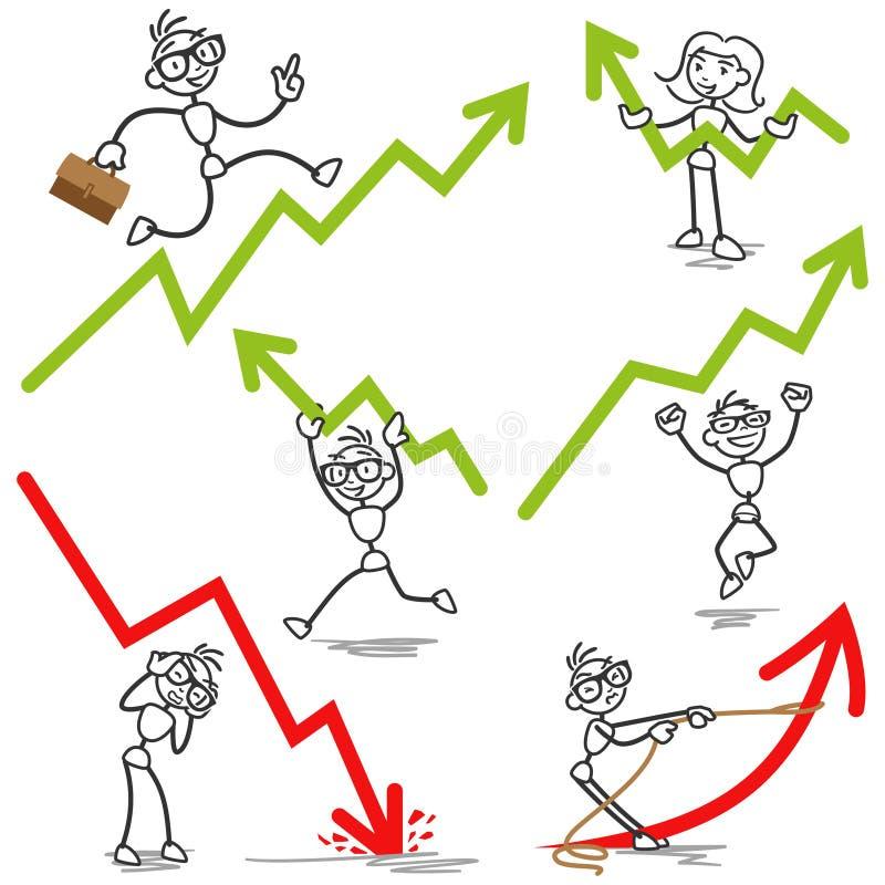 Статистик дохода диаграммы Stickman иллюстрация вектора