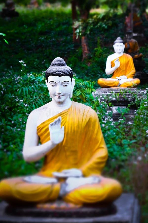 Статуи Buddhas серии в саде Loumani Будды Hpa-An, Мьянма стоковые фото