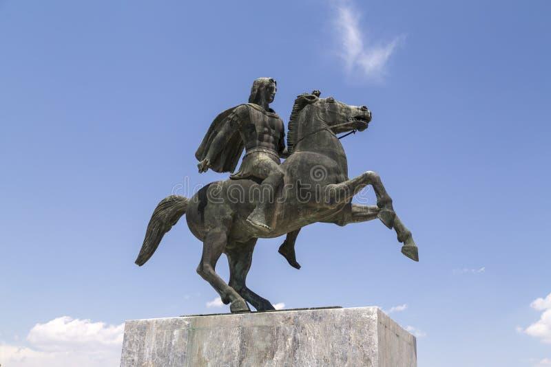 Статуя Александра Македонского Macedon на побережье Thessaloniki стоковые фотографии rf