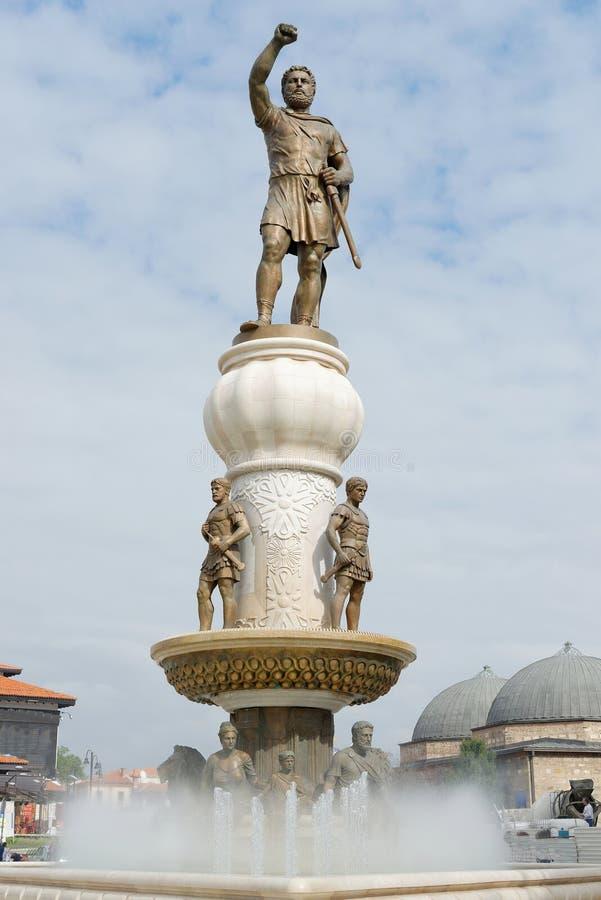 Статуя Александра Македонского центра города внутри скопья, стоковая фотография rf