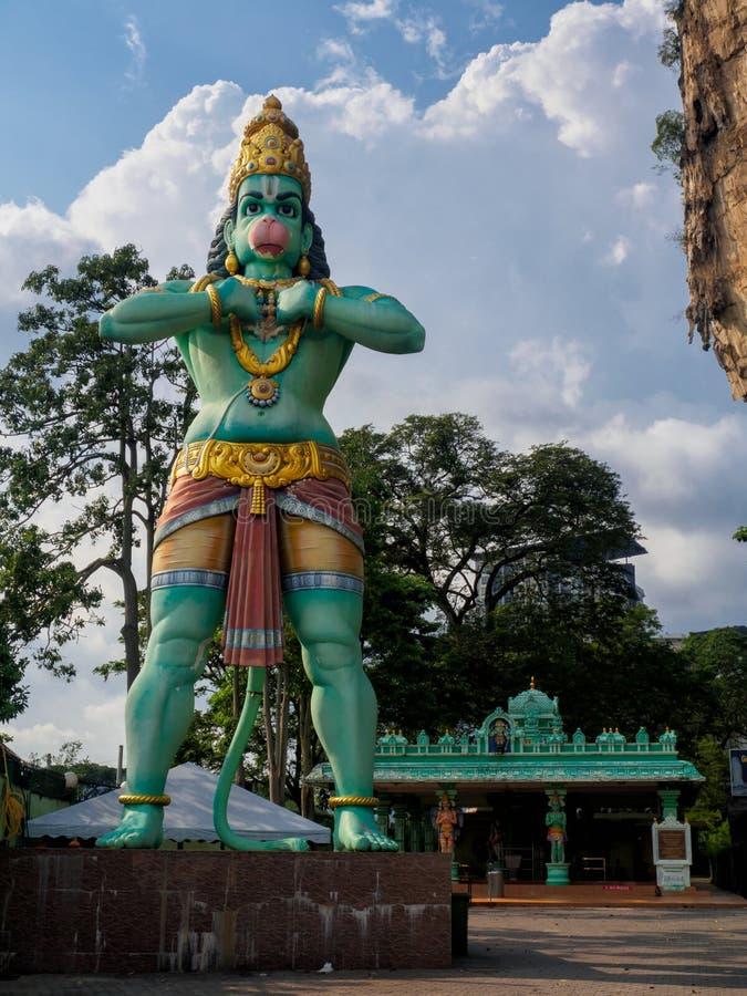 Статуя божества лорда Hanuman на Batu выдалбливает в Куалае-Лумпур, Малайзии стоковое фото