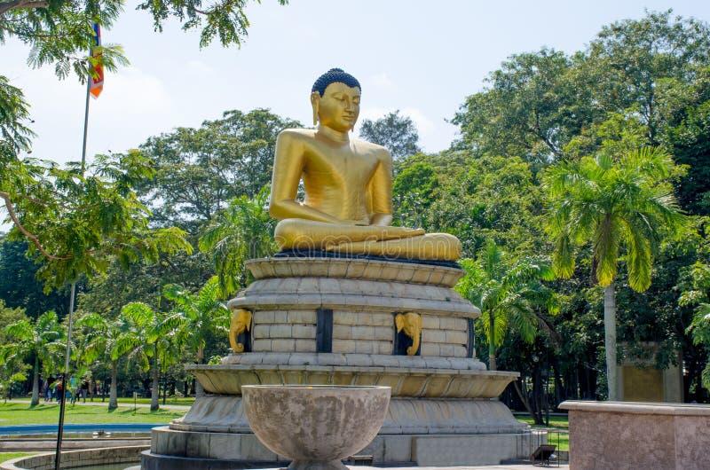 Статуя Будды в парке Коломбо Шри-Ланка Viharamahadevi стоковые фотографии rf