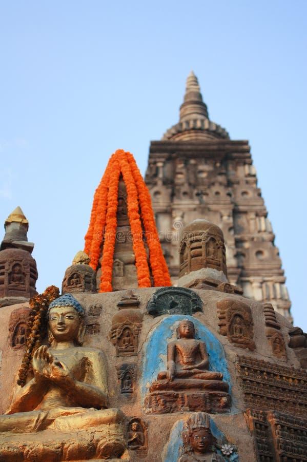 Статуя Будды на виске Mahabodhi на Bodhgaya Индии стоковые изображения