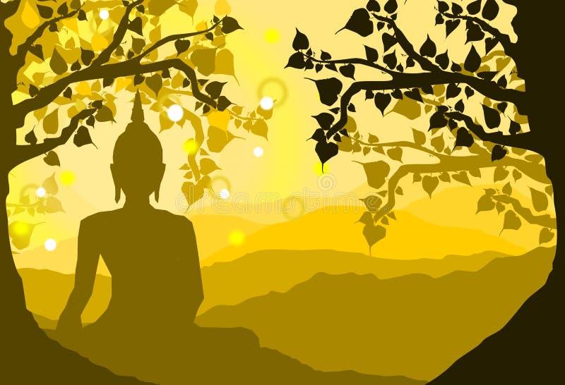 Статуя Будды под смоковницей и горой Bodhi священными на предпосылке захода солнца, заходе солнца, стиле силуэта иллюстрация штока