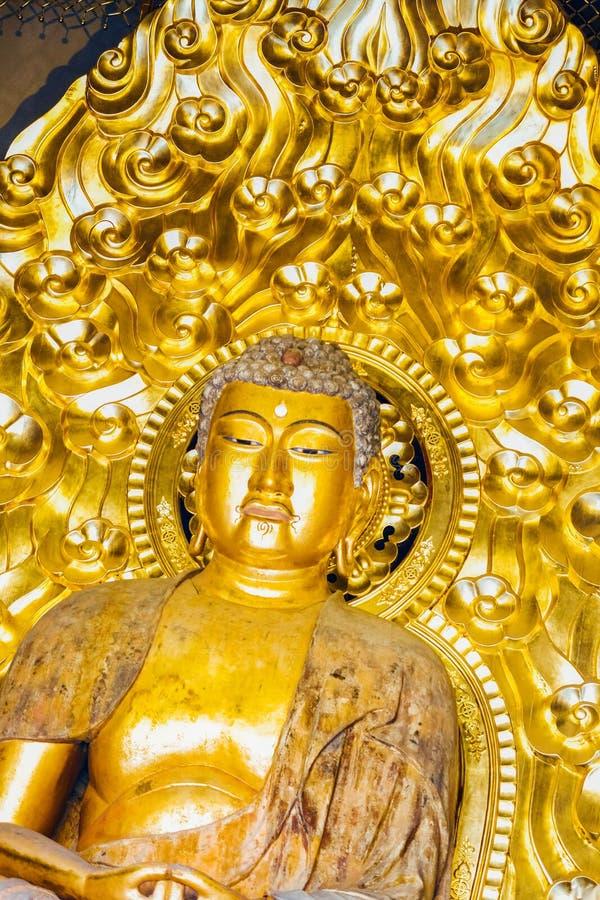 Статуя Будды в сияющем цвете золота стоковая фотография rf