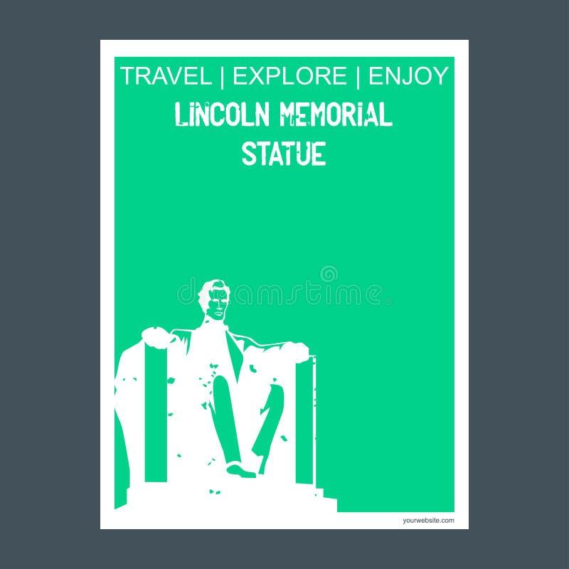 Статуя Вашингтон Линкольна, DC, брошюра f ориентира памятника США иллюстрация штока