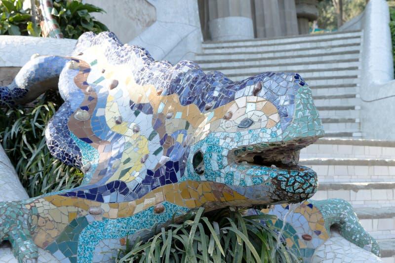 Статуя в крупном плане Guell парка (Барселоне, Catalunya) стоковые изображения