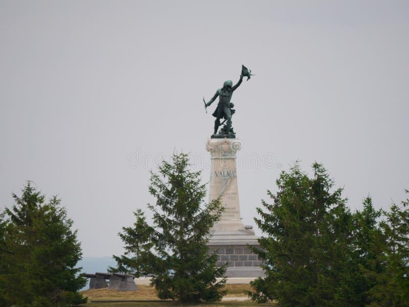 Статуя генерала Kellermann на месте сражения Valmy стоковые фотографии rf