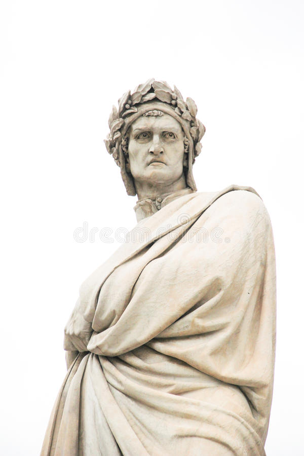 Статуя Данте Алигьери в Флоренсе, Италии стоковые изображения