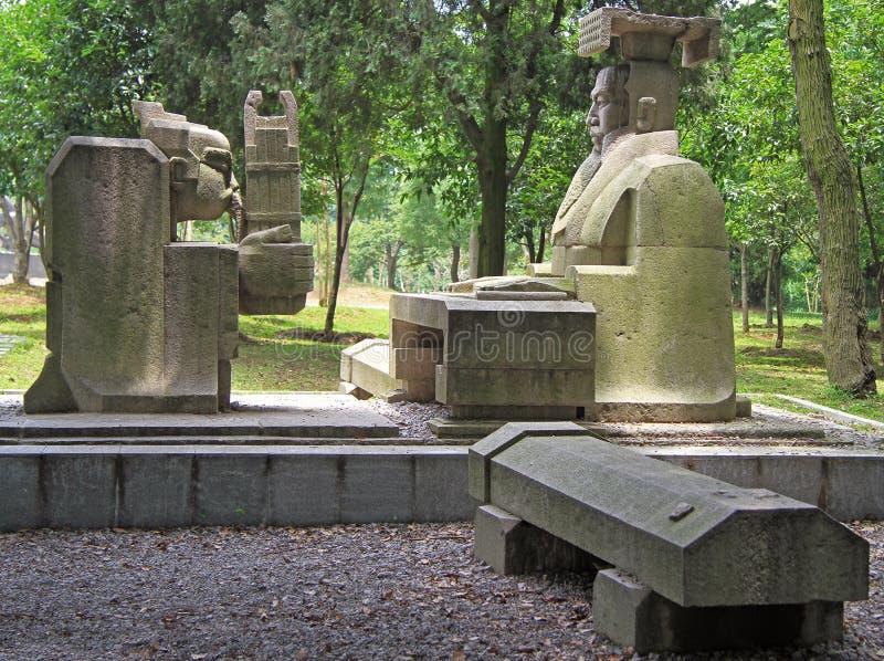 Статуя императора и его верноподданической холопки, Ухань стоковые изображения