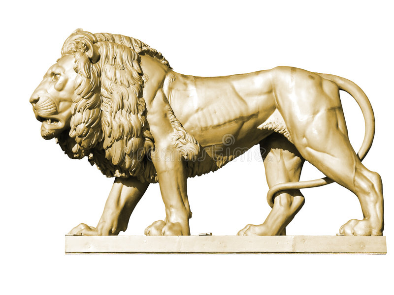 статуя льва золота 3 стоковое изображение rf
