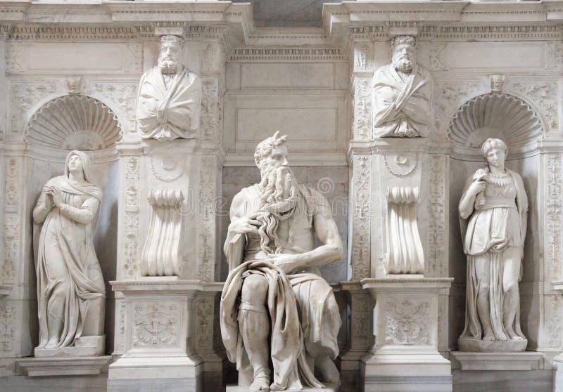 Статуя Моисея, Микеланджело, Сан Pietro в Vincoli, Риме стоковая фотография rf