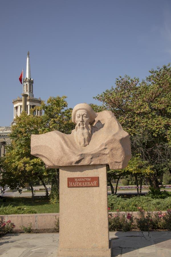 Статуя на памятнике Manas, Бишкеке, Кыргызстане стоковое фото