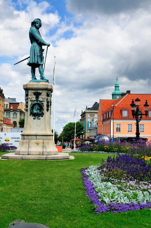 Статуя на Stortorget, Karlskrona, Швеции стоковые изображения rf