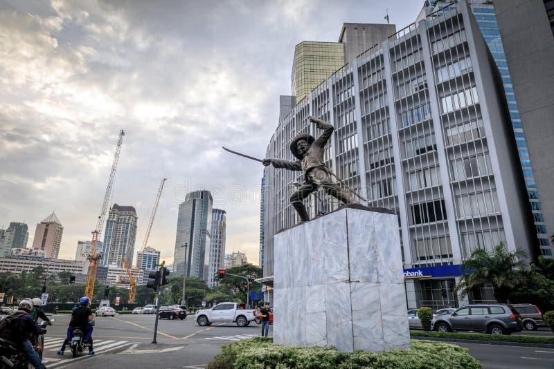 Статуя Общ Pio Del Pilar на Makati Ave стоковая фотография