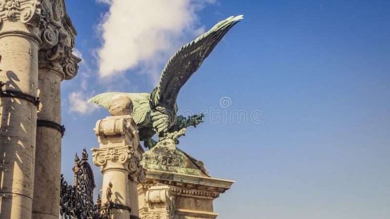 Статуя орла Turul на главном входе замка Buda в Будапеште, Венгрии стоковая фотография rf