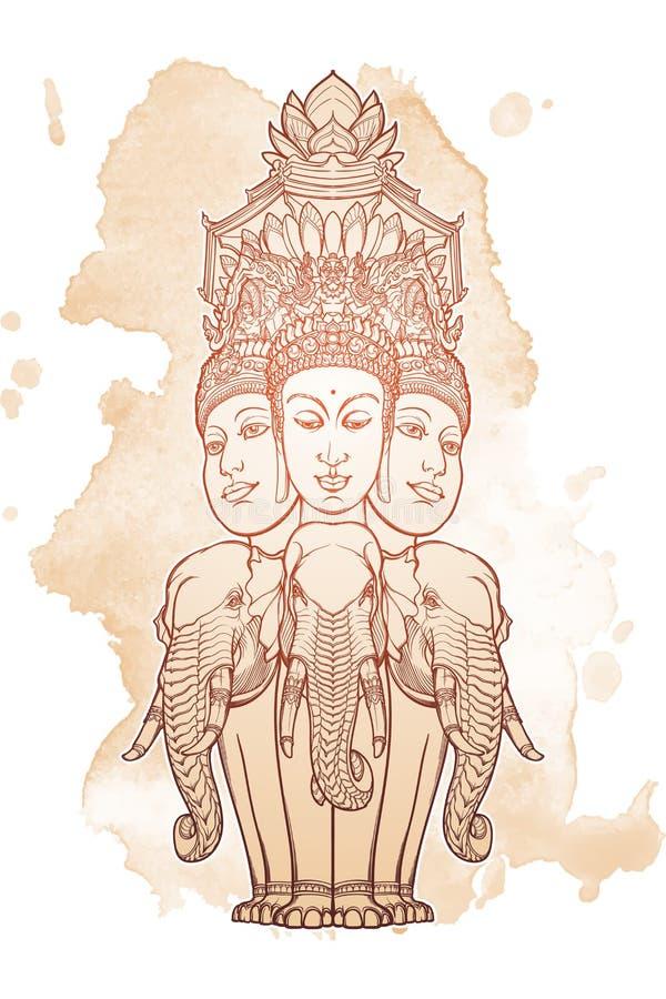 Статуя представляя Trimurti - троицу индусских богов Brahma, Vishnu и Shiva, сидя на 3 слонах затейливо иллюстрация вектора