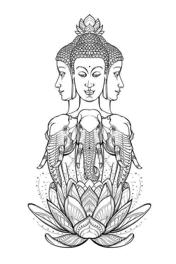 Статуя представляя Trimurti - троицу индусских богов Brahma, Vishnu и Shiva, сидя на 3 слонах затейливо иллюстрация штока