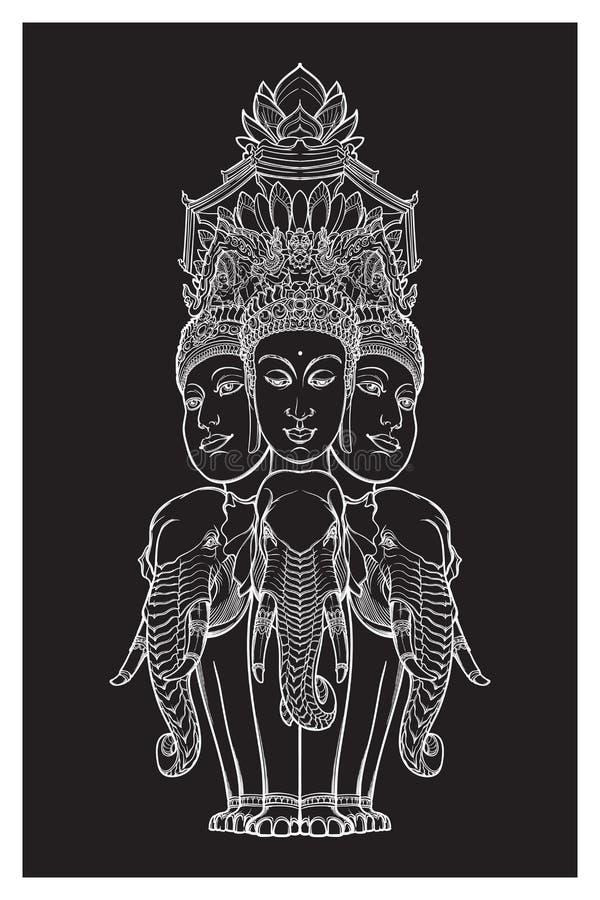 Статуя представляя Trimurti - троицу индусских богов Brahma, Vishnu и Shiva, сидя на 3 слонах затейливо бесплатная иллюстрация