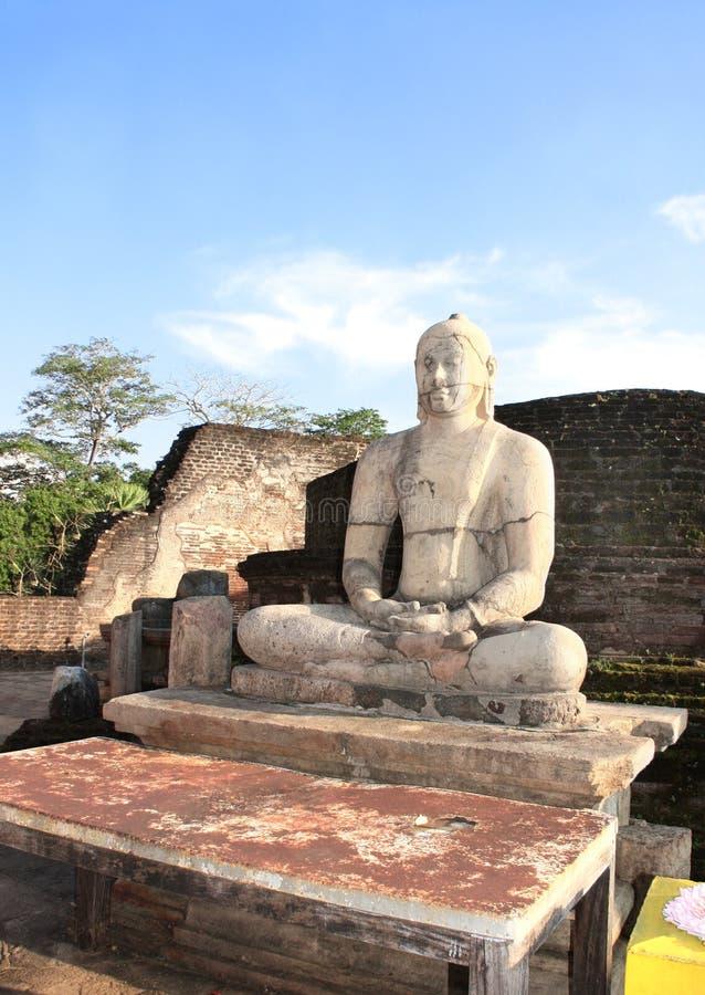 Статуя размышляя Будды, Vatadage, Polonnaruwa, Шри-Ланка стоковое изображение