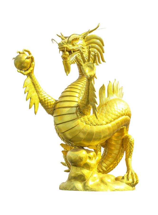 статуя дракона золотистая изолированная стоковое изображение