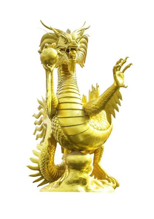статуя дракона золотистая изолированная стоковое фото rf