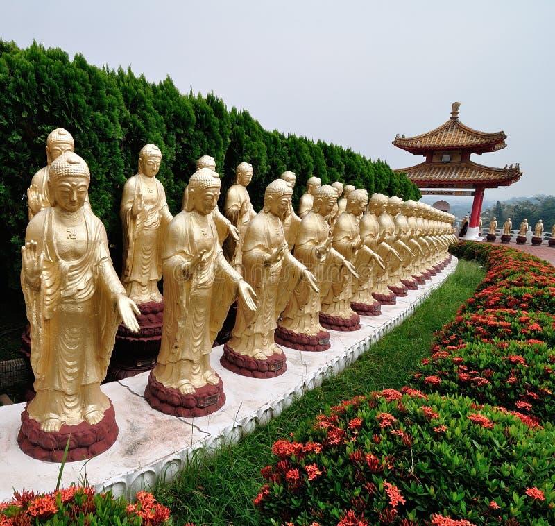 статуя рядка парка Будды стоящая стоковая фотография