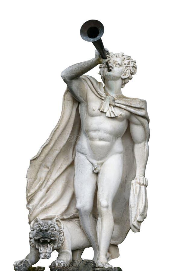 Статуя сатира с трубой в руке и льве на ногах в Mounta стоковая фотография rf
