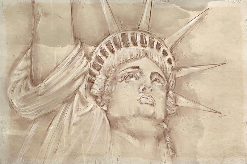 Статуя свободы с античным основанием иллюстрация штока