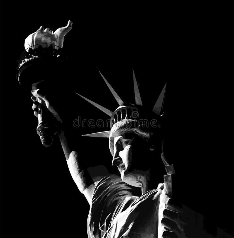 Статуя свободы в черно-белой иллюстрации. иллюстрация вектора
