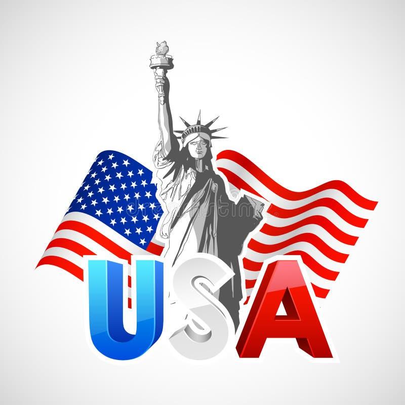 Статуя свободы с американским флагом бесплатная иллюстрация