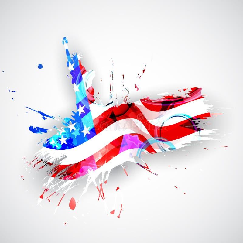 Статуя свободы с американским флагом иллюстрация вектора