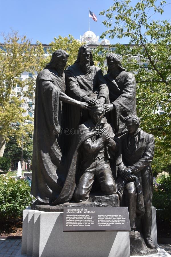 Статуя священства Иосиф Смита в Солт-Лейк-Сити, Юте стоковые изображения