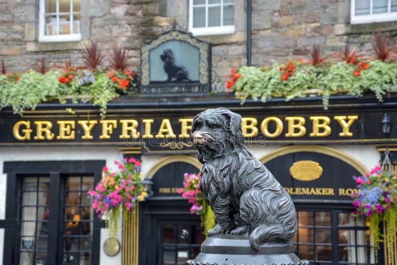 Статуя собаки Greyfriars Бобби перед пабом в Edinbu стоковое фото