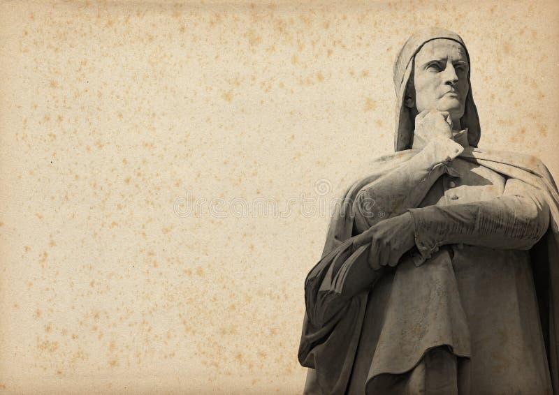 Статуя Dante на пожелтетой бумаге иллюстрация штока