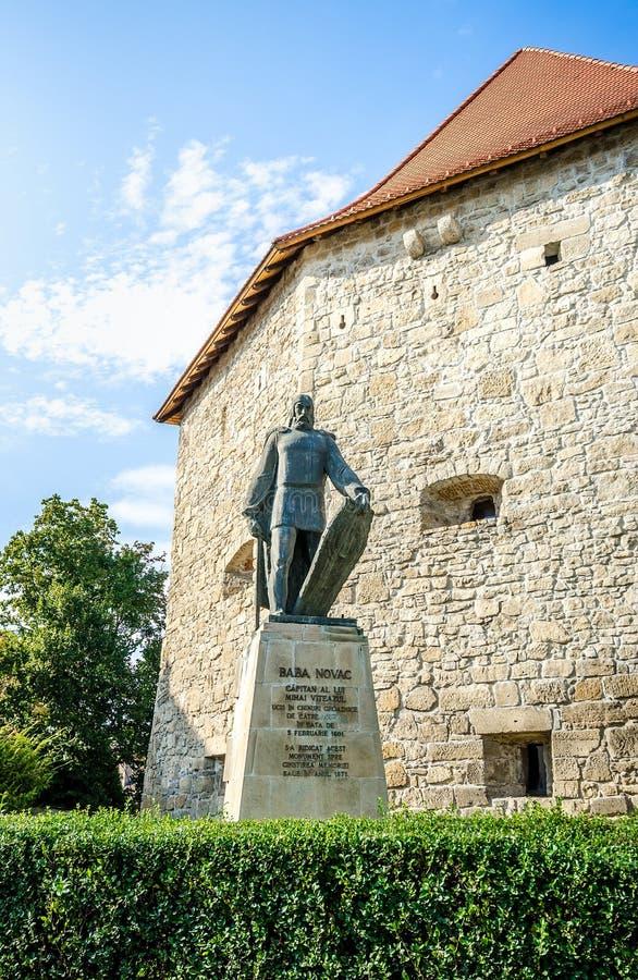 Статуя Novac Бабы перед бастионом Taylors в Cluj Napoca стоковая фотография rf