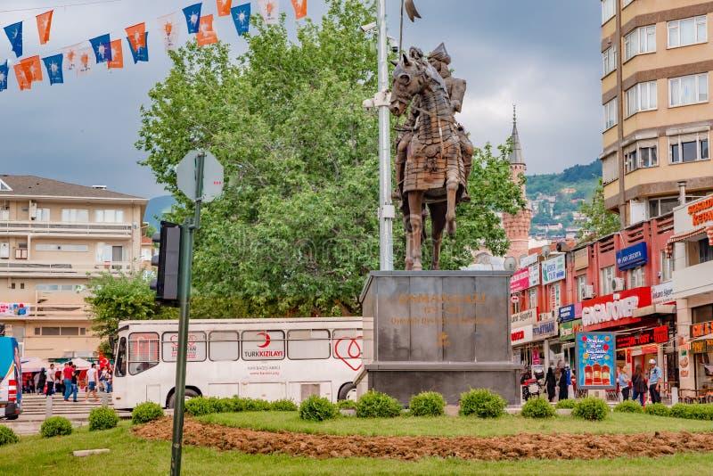 Статуя Osman Gazi в Бурсе, Турции стоковые фотографии rf