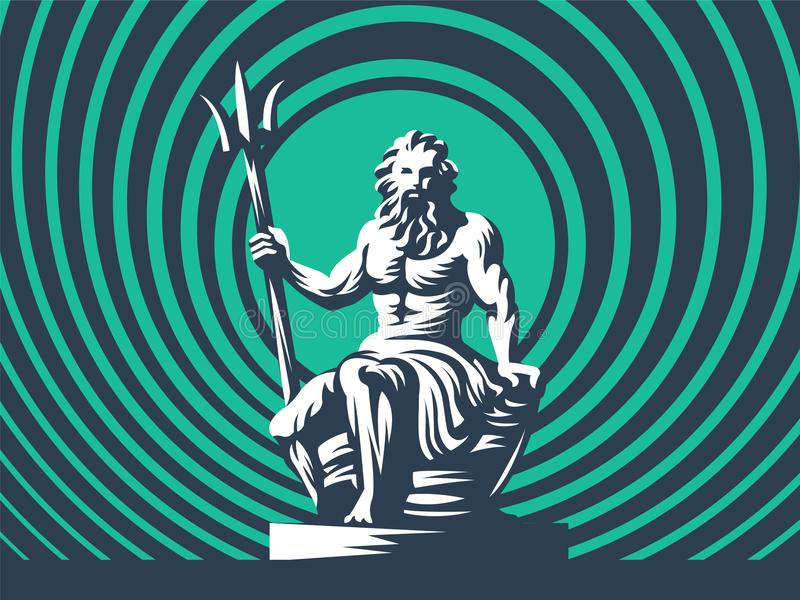 Статуя Poseidon или Нептуна с трёхзубцем иллюстрация штока