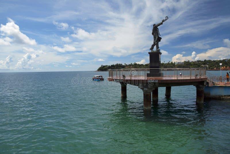 Статуя Rajiv Gandhi на моле Абердина, Port Blair стоковое изображение