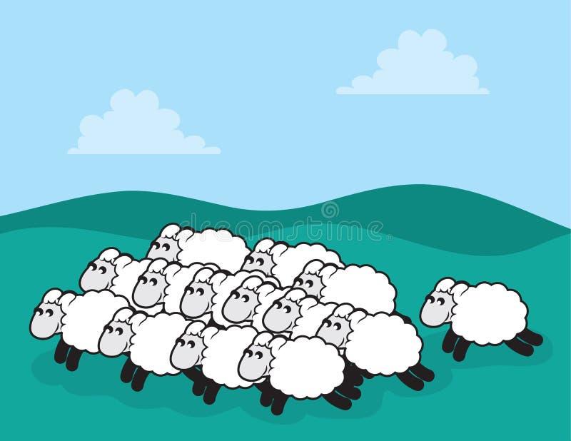 Стая овец иллюстрация вектора