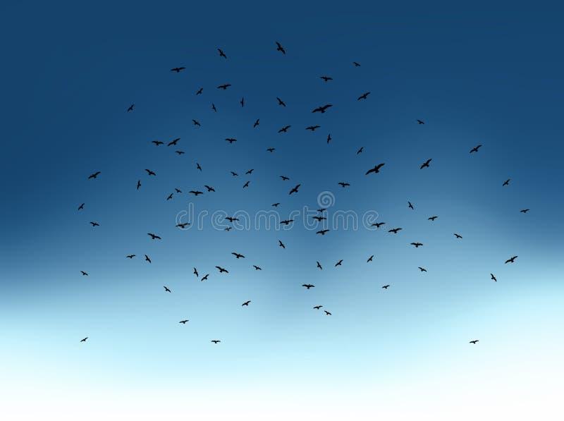 Стая птиц летания на голубом небе. Вектор иллюстрация штока