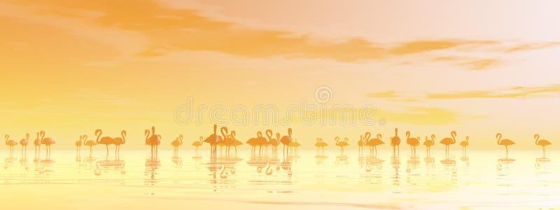 Стая фламингоов - 3D представляют бесплатная иллюстрация