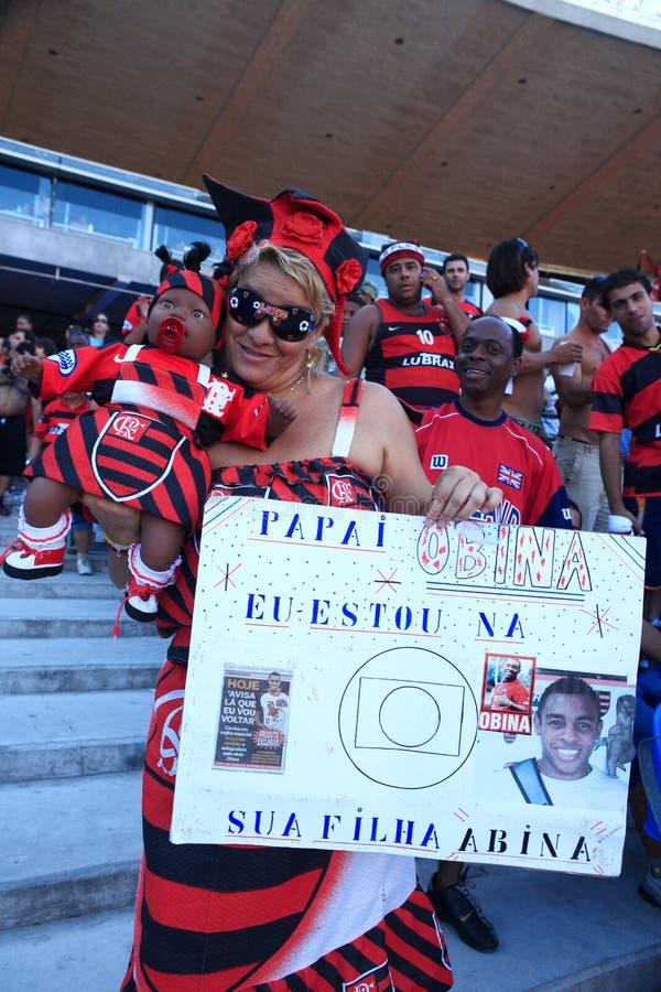 Стадион Рио-де-Жанейро Бразилия Maracana вентилятора Flamengo стоковые изображения