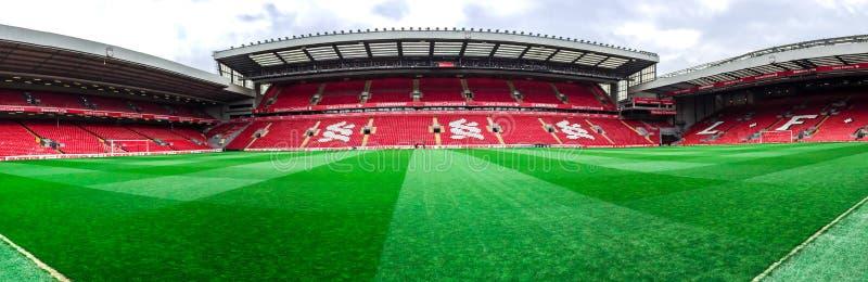 Стадион Anfield, Ливерпуль, Великобритания стоковые изображения rf