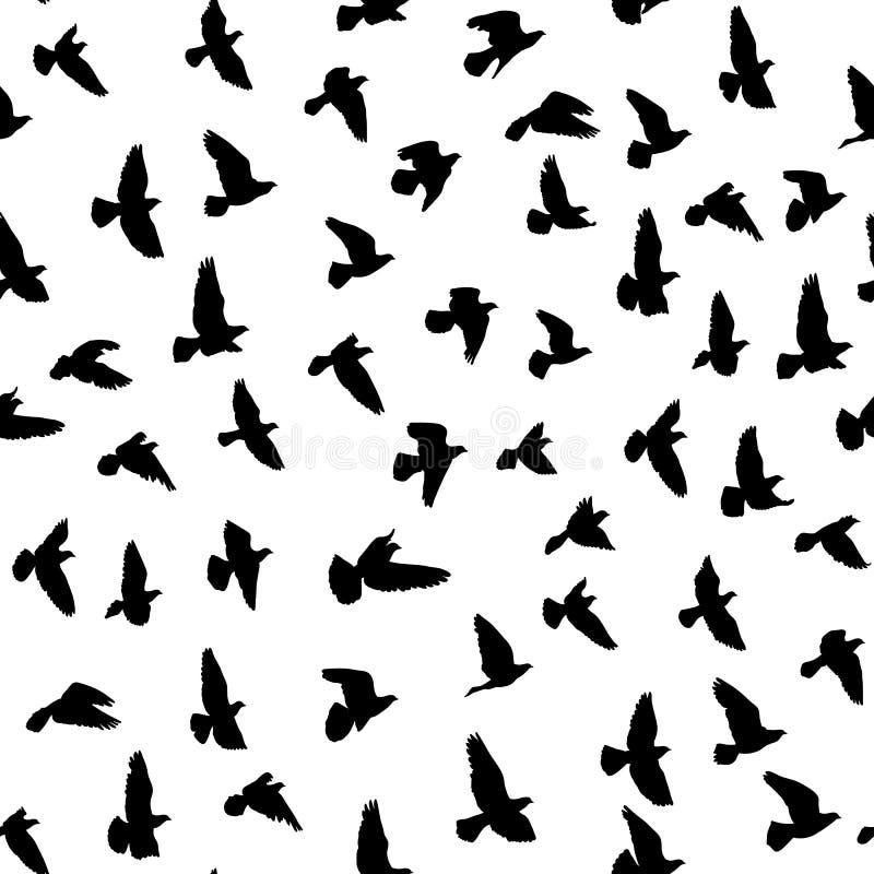 Стадо летящих птиц, vector безшовная картина стоковые фотографии rf