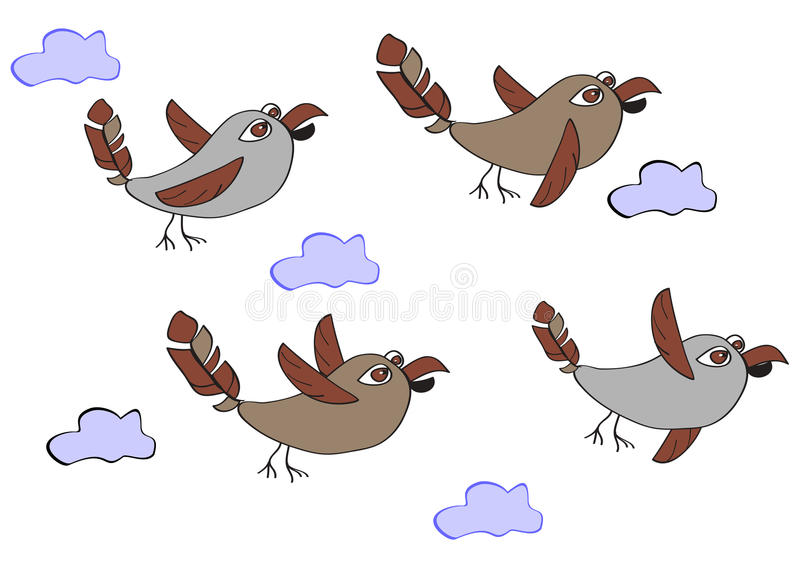 Стадо смешных птиц - воробьев летая в облака Простой c иллюстрация вектора